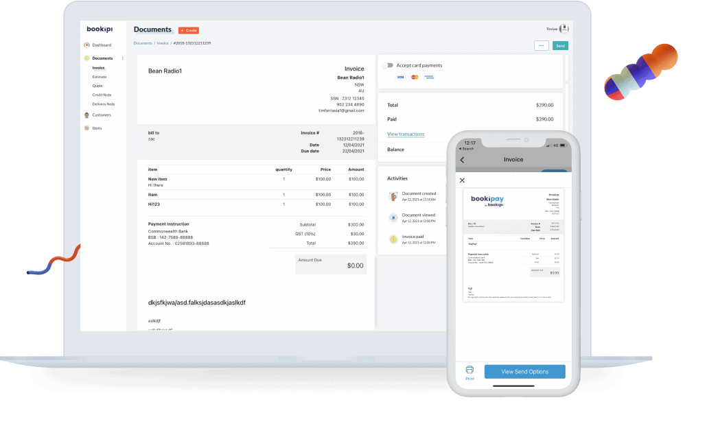 bookipi invoice web app and mobile app